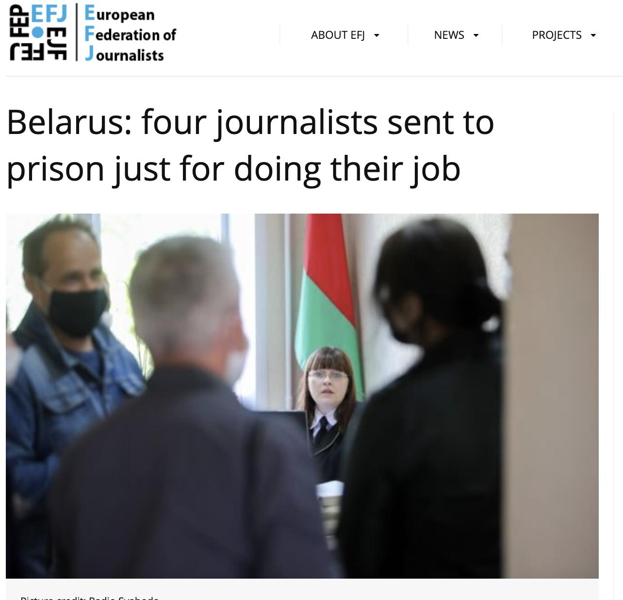 Skjermdump av EFJ-nettside. foto: Radio Svaboda