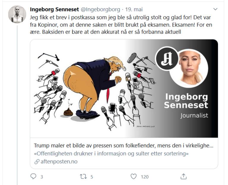 Faksimile av twittermelding til Ingeborg Senneset